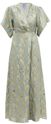 Thierry Colson Marieke Silk Floral-brocade Maxi Dress - Blue