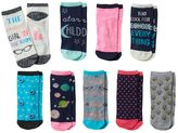 "Pink Cookie Girls 9-pk. Glitter ""Smart Girl"" Low-Cut Socks"