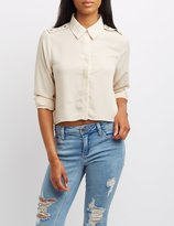 Charlotte Russe Button-Up Crop Top