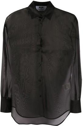 MSGM Long-Sleeved Organza Shirt