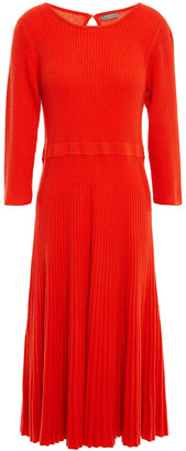 N.Peal Fluted Ribbed Cashmere Midi Dress
