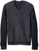 A|X Armani Exchange Men's Wool Blend Double Yard Dyed V Neck Sweater