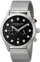 Stuhrling Original Champion Victory Elite Men's Quartz Watch with Black Dial Analogue Display and Silver Stainless Steel Bracelet 562.33111