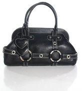 Luella Black Leather Silver Tone Double Handle Doctor Gisele Handbag