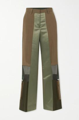 Sacai Paneled Grosgrain-trimmed Wool, Satin And Chiffon Straight-leg Pants - Dark green