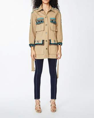 Nicole Miller Paradise Stripe Embroidery Safari Jacket