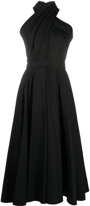 Alexander McQueen Crossover Neck Midi Dress