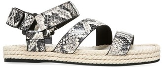 Vince Elian Snakeskin-Embossed Leather Espadrille Sport Sandals