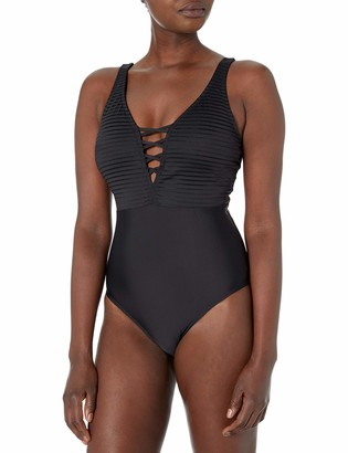 Athena Women's Slimming Tummy Control V-Neck One Piece Swimsuit