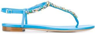 Rene Caovilla Rhinestone-Embellished Thong Sandals