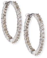 Roberto Coin 22mm White Gold Diamond Huggie Hoop Earrings, 1ct