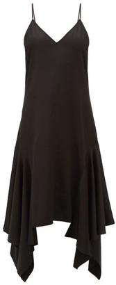 J.W.Anderson Asymmetric-hem Satin Slip Dress - Womens - Black