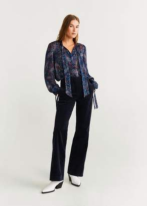 MANGO Flared corduroy trousers dark navy - 2 - Women
