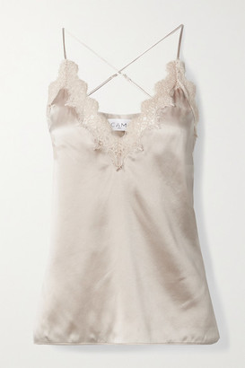 CAMI NYC The Everly Lace-trimmed Silk-charmeuse Camisole - Ivory