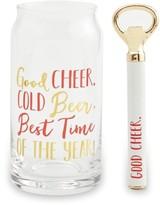Mud Pie Good Cheer Beer Glass & Bottle Opener