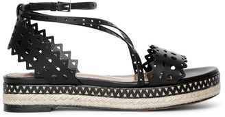 Alaia Laser cut leather espadrille platform sandals