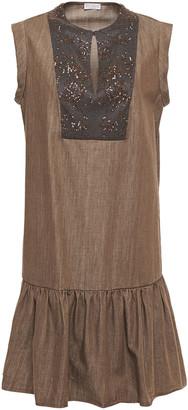 Brunello Cucinelli Embellished Satin-paneled Denim Mini Dress