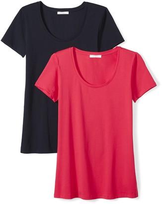 Daily Ritual Amazon Brand Women's Stretch Supima Short-Sleeve Scoop Neck T-Shirt
