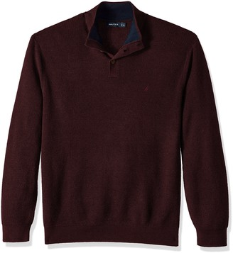 Nautica Men's Long Sleeve Button Mock Neck Sweater