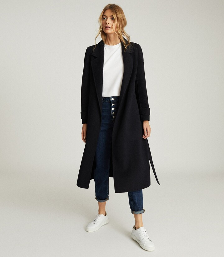 Reiss Leah - Wool Blend Longline Overcoat in Navy