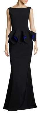Chiara Boni Women's Eden Peplum Gown - Black Cobalt - Size 48 (12)