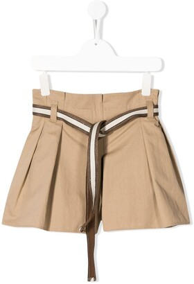BRUNELLO CUCINELLI KIDS Belted Pleated Shorts
