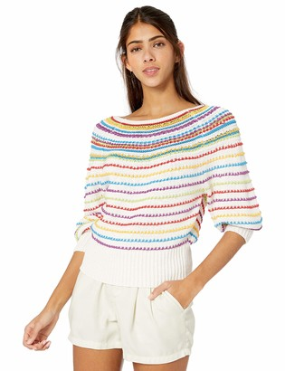 BCBGMAXAZRIA Women's Mixed Stitch Striped Sweater