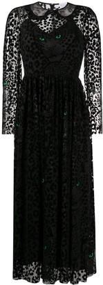 RED Valentino Flock Leopard-Print Long Dress
