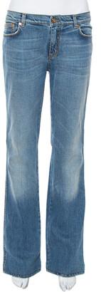 Roberto Cavalli Blue Faded Effect Denim Straight Leg Jeans L