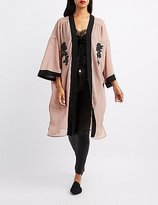 Charlotte Russe Embroidered Open-Front Kimono