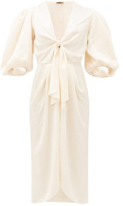 Johanna Ortiz Everblooming Tie-front Satin Dress - Ivory