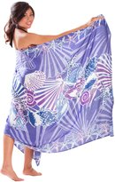 1 World Sarongs Womens Fringeless Cover-Up Hibiscus Sarong in