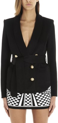 Balmain Belted Double Breasted Blazer