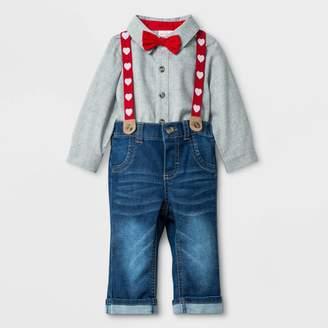 Cat & Jack Baby Boys' Valentine's Day Denim Suspender Set - Cat & JackTM Gray/Blue