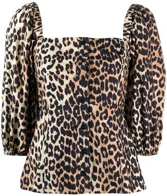 Ganni Leopard Print Poplin Blouse