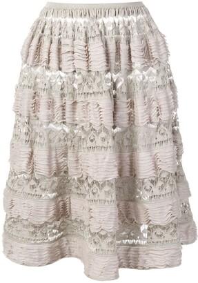 Alaïa Pre-Owned 2000's Layered Ruffled Skirt