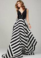 Jovani Sleeveless Evening Gown in Asymmetrical Stripe Skirt 33959