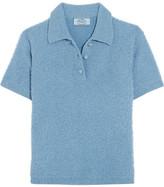 Prada Wool-blend Bouclé Polo Shirt - Sky blue