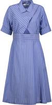 Sandro Robyn cutout striped cotton-poplin midi dress
