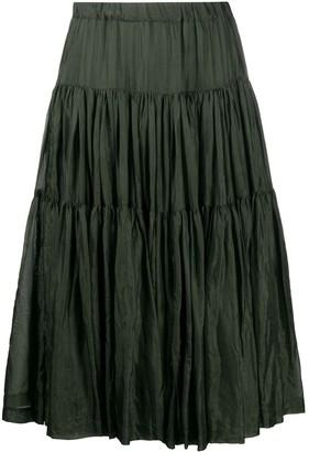 Casey Casey Tiered Silk Midi Skirt