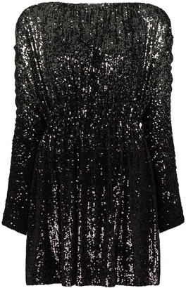 Saint Laurent Ombre Sequinned Babydoll Dress
