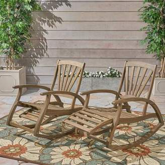 Sabrina Rosecliff Heights Outdoor Rustic Teak Rocking Chair Rosecliff Heights Color: Gray