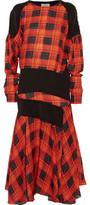 Preen by Thornton Bregazzi Luke Paneled Checked Silk Midi Dress