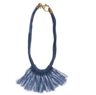 Zelma Rose Saguaro Fringe Necklace In Indigo