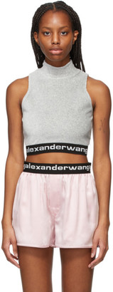 alexanderwang.t Grey Logo Mock Neck Tank Top