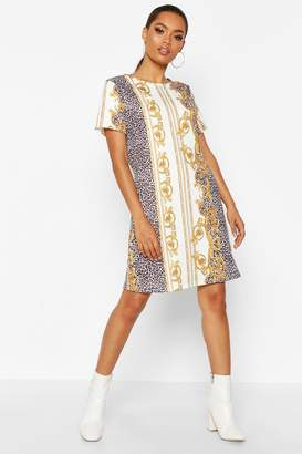 boohoo Chain Print Crew Neck Shift Dress