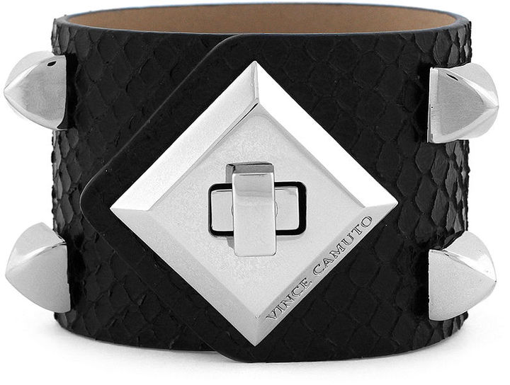 Vince Camuto Bracelet, Light Rhodium Snake Turnlock Cuff Bracelet