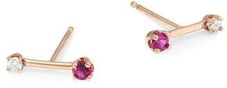 Zoë Chicco 14K Rose Gold, Diamond & Ruby Barbell Stud Earrings
