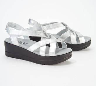 Alegria Leather Multi-Strap Wedge Sandals- Myka