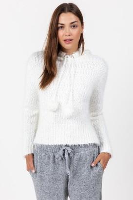 francesca's Faun Hooded Popcorn Sweater - Ivory